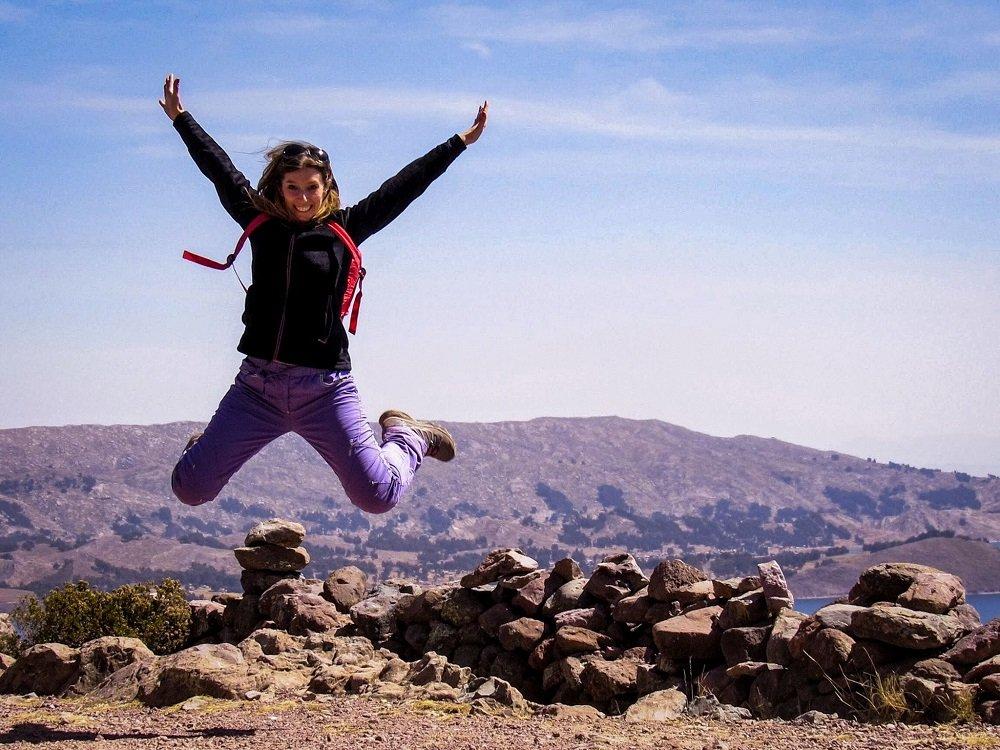 Emanuela Stampacchia al lago Titicaca