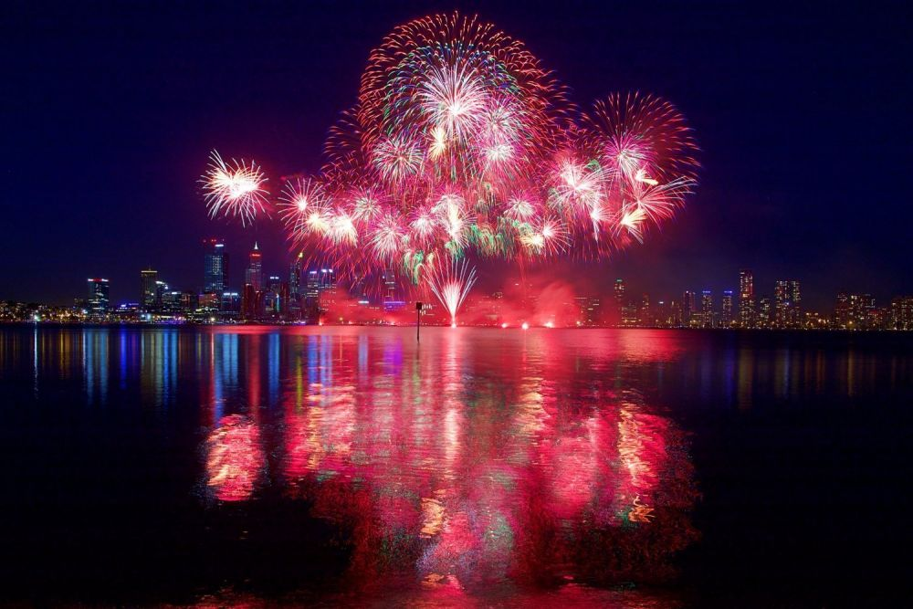 Perth fuochi d'artificio Australia Day