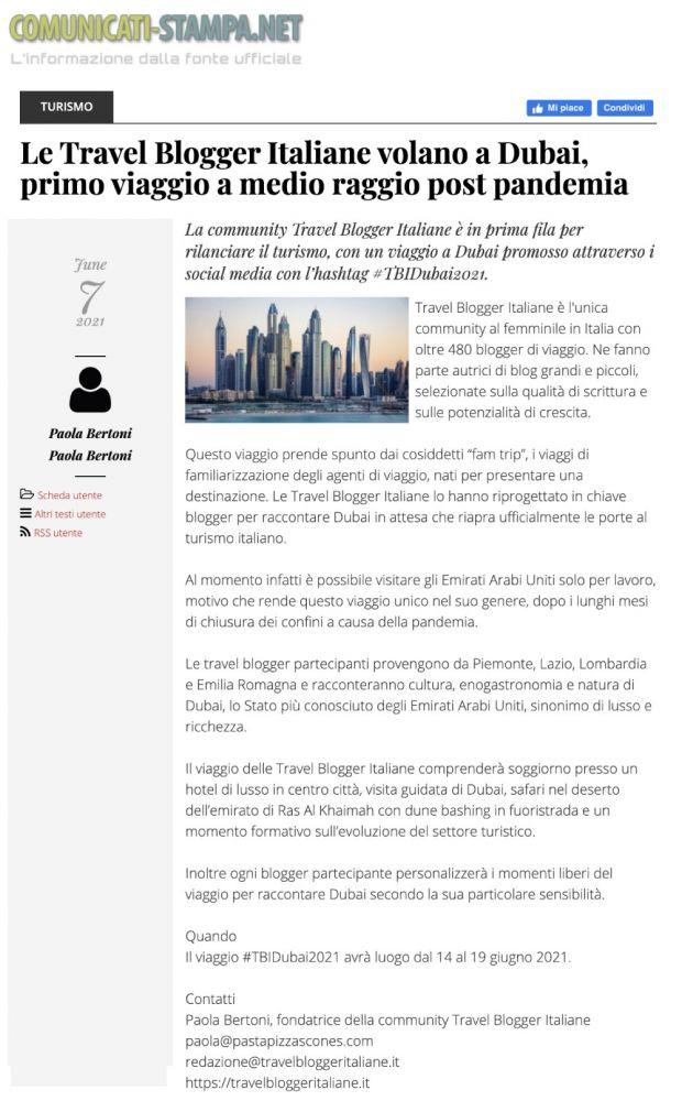 Rassegna stampa #TBDubai2021 Comunicati Stampa