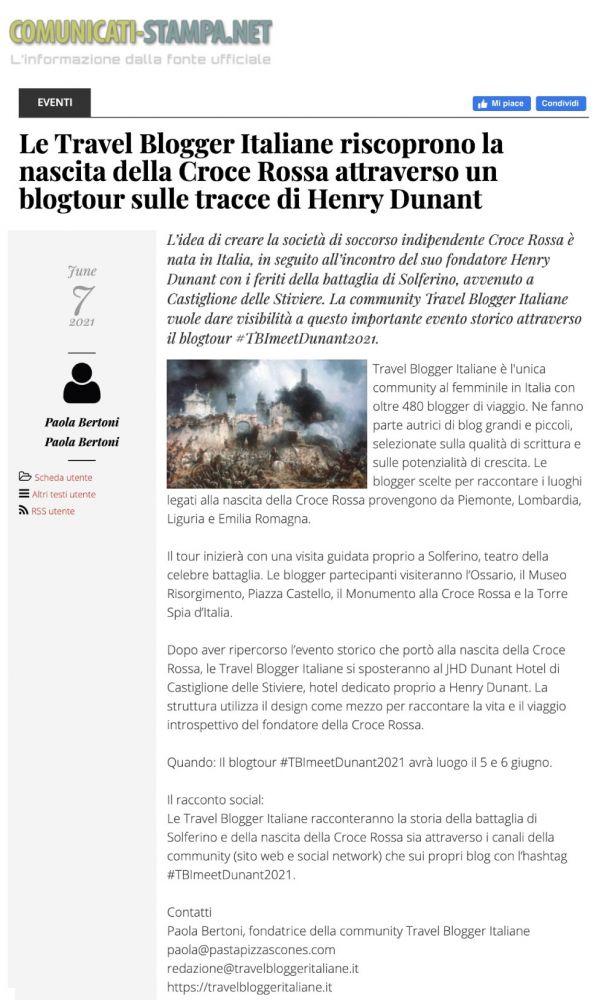 Rassegna stampa #TBImeetDunant2021 Comunicati Stampa