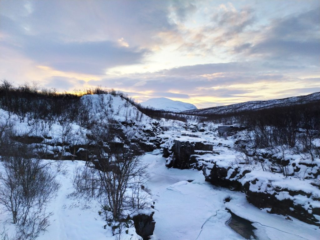 Tramonto ad Abisko in Svezia