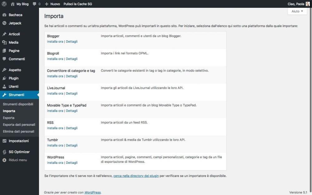 Schermata di WordPress per importare contenuti attraverso un file XML