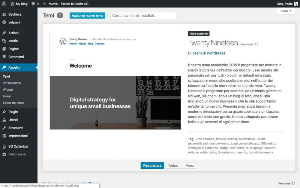 Twenty Nineteen, il tema predefinito di WordPress per il 2019