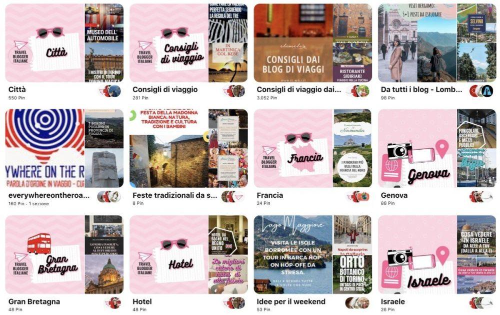 Bacheche Pinterest del profilo Travel Blogger Italiane