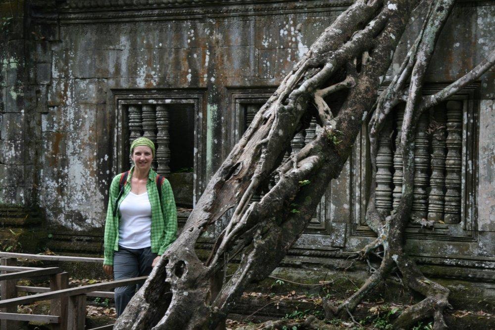 Raffaella Bertolin ai templi di Angkor in Cambogia