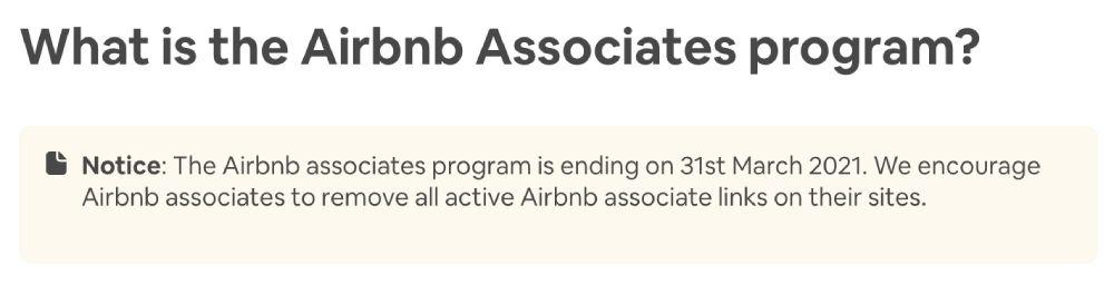 Chiusura programma Airbnb Affiliates