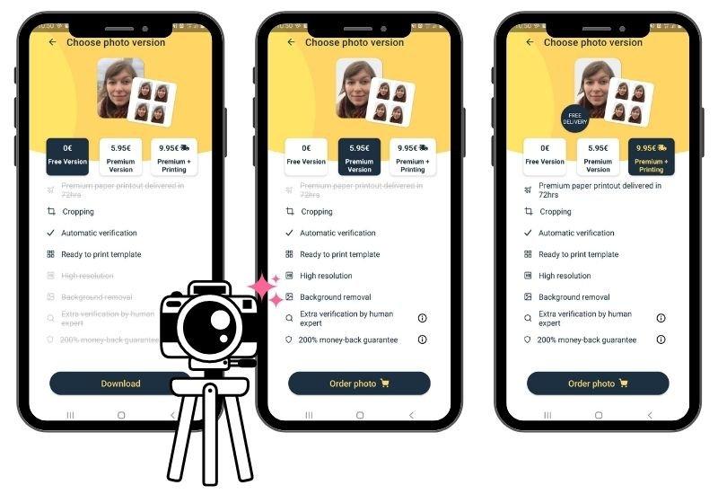 Costi di Passport Photo Online per salvare la foto del passaporto con o senza sfondo, impaginarla e ricevere le immagini stampate