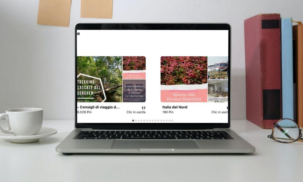 Statistiche bacheche Pinterest su laptop