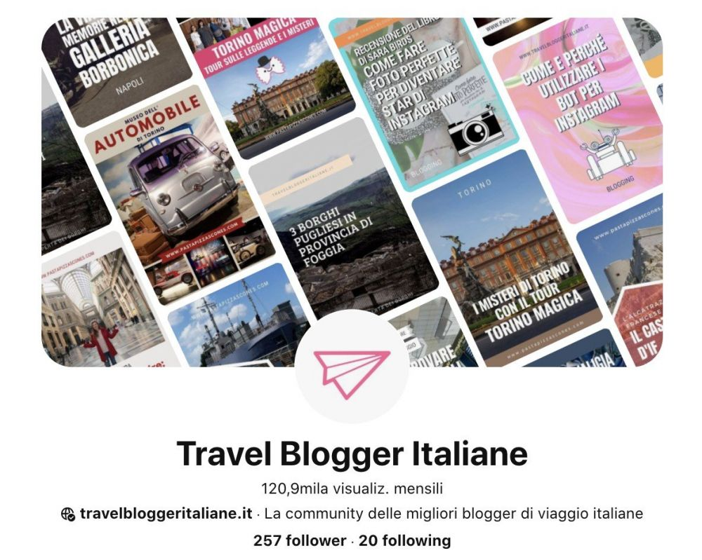 Profilo Pinterest Travel Blogger Italiane