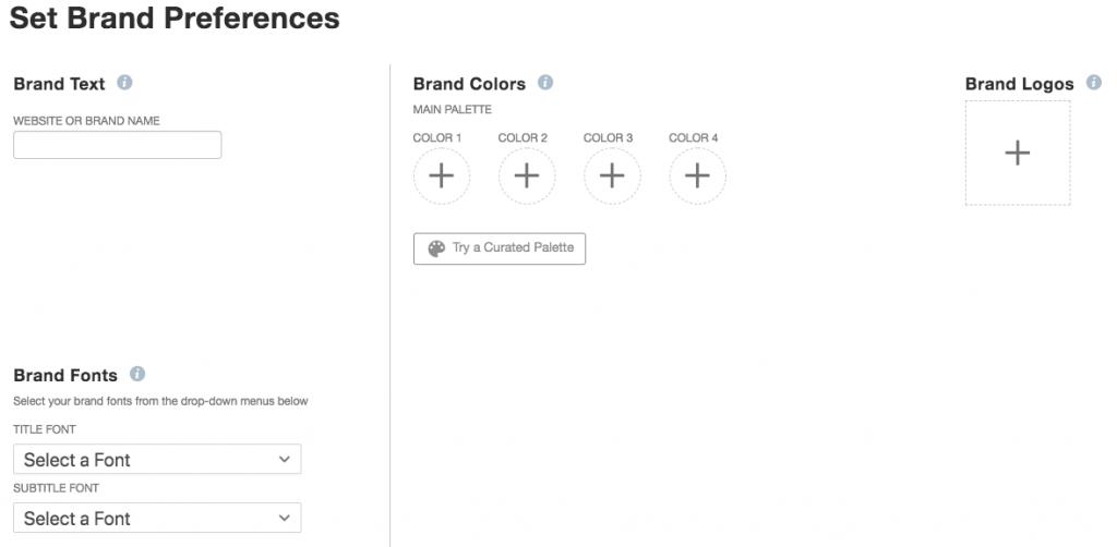 Tailwind Create schermata brand