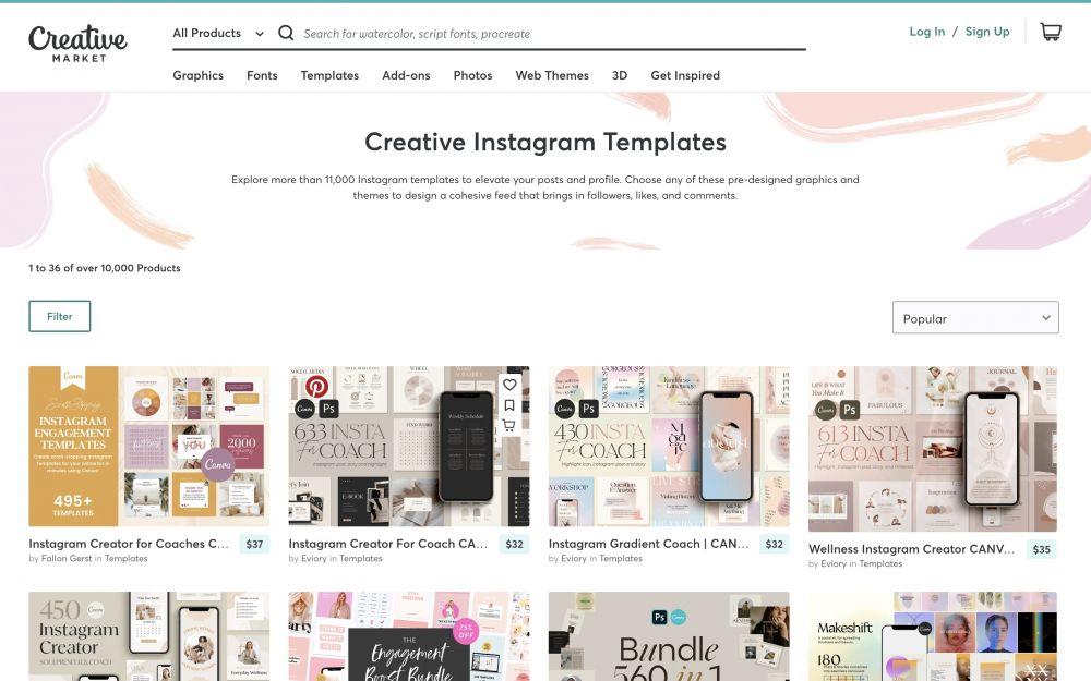 Creazione di una grafica per un post Instagram con Creative Market