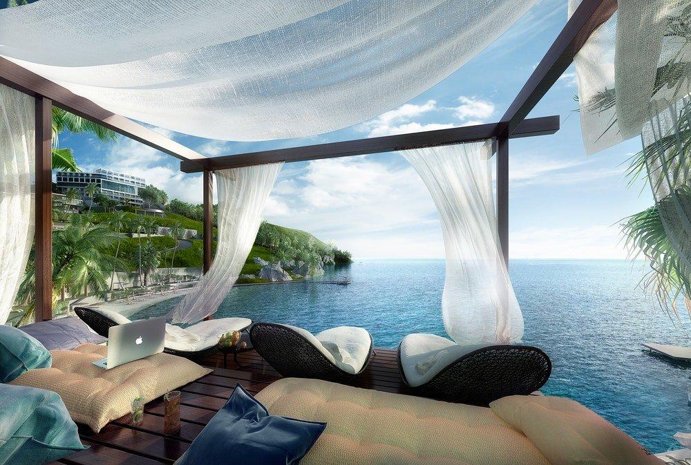 Terrazza privata in un hotel con vista sul mare, foto Quark Studio